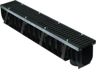 Комплект: Лоток водоотводный пластиковый MAX 100 с чугунными решетками (кл. Е - до 60 т.)