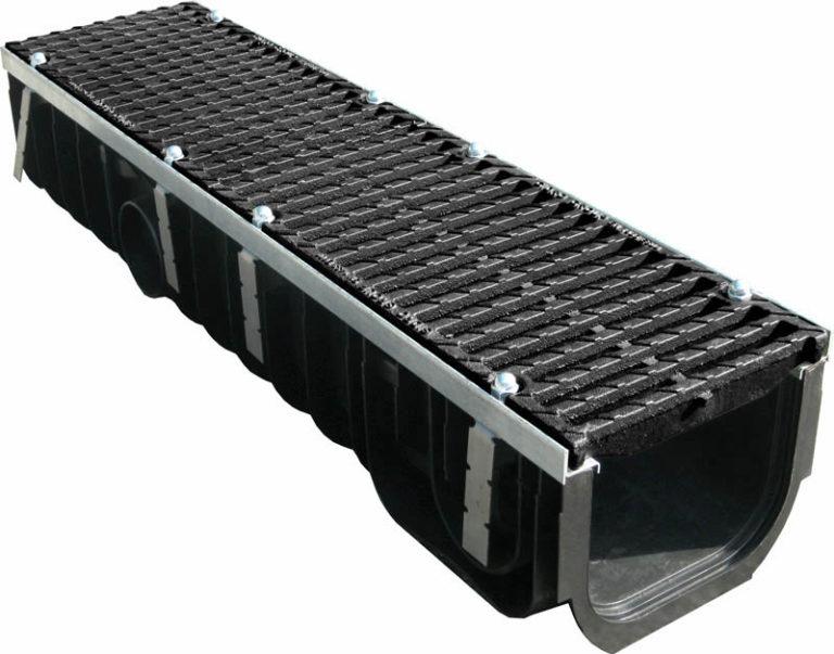Комплект: Пластиковый водоотводный лоток MAX 200/200 с чугунными решетками